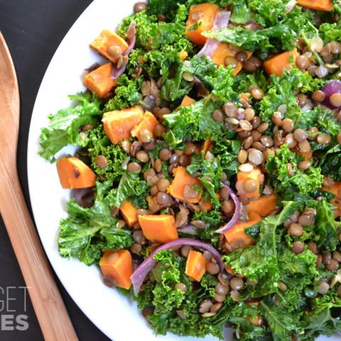 wilted kale and lentil salad