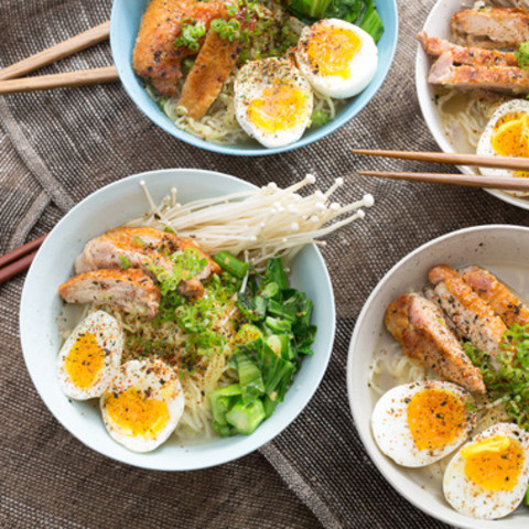 Winter Chicken Ramenwith Choy Sum, Soft-Boiled Eggs and Miso Broth