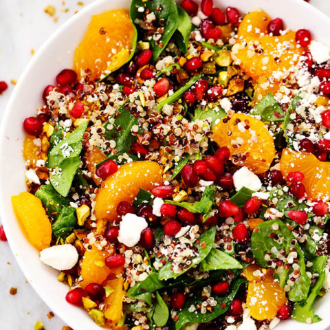 Winter Pomegranate Orange Quinoa Salad with Creamy Lemon Greek Yogurt Dress