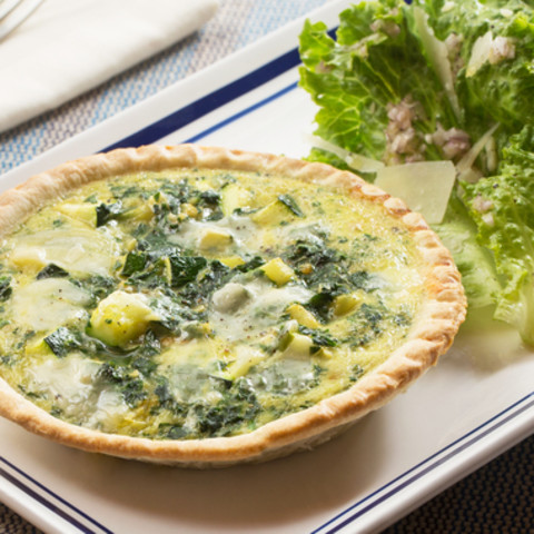 Zucchini and Parmesan Quiches with Green Leaf Lettuce Salad and Pink Lemon