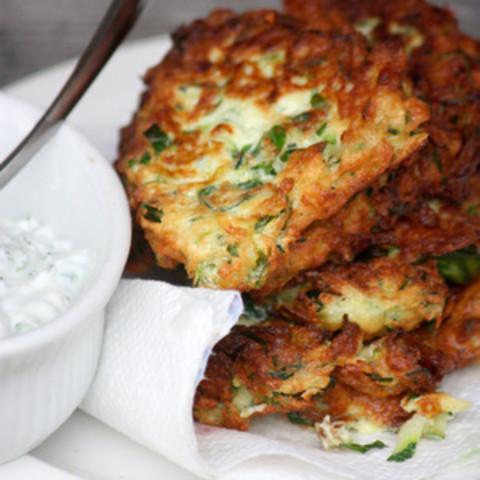Zucchini Fritters With Dill Tzatziki