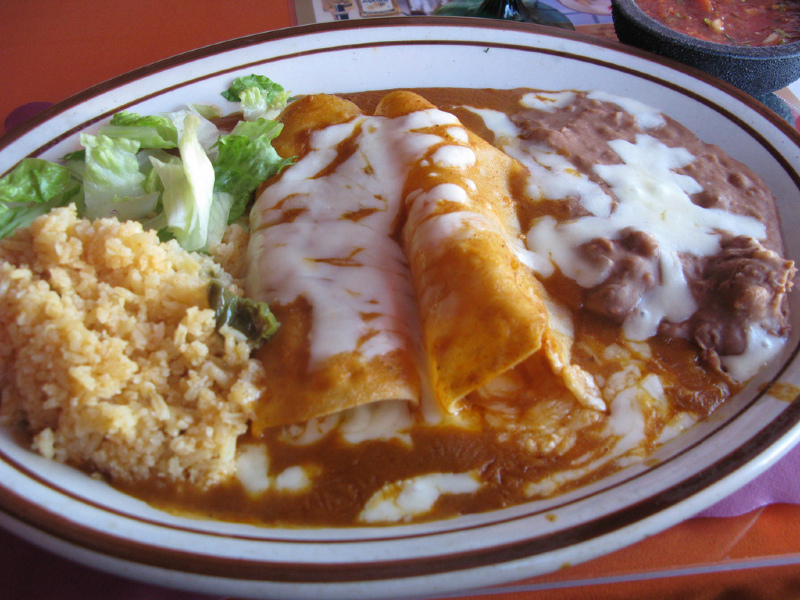 Chicken Enchiladas With Mexican Rice And Re Fried Beans Integrated Meal