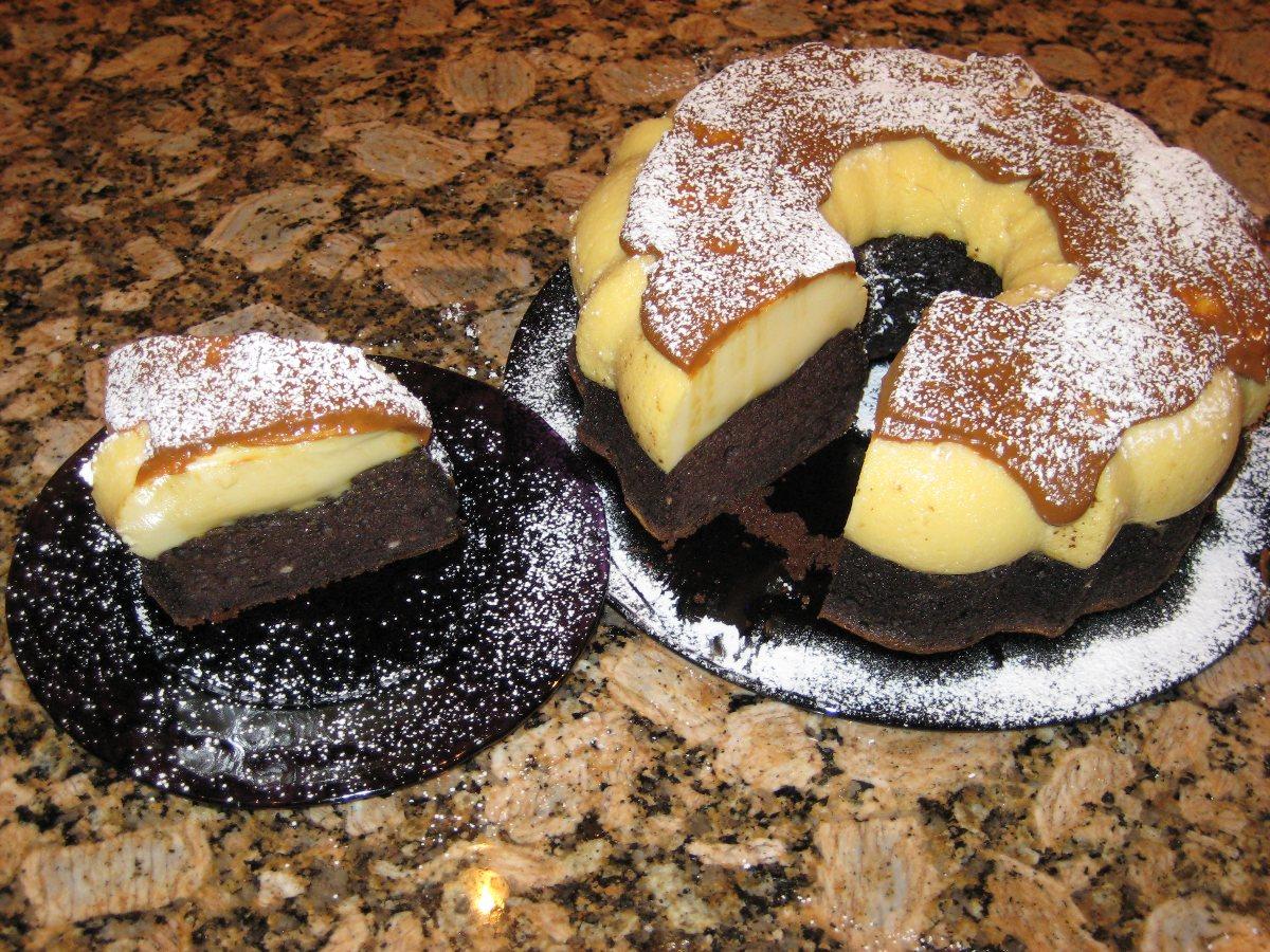Flan Topped Chocolate Cake