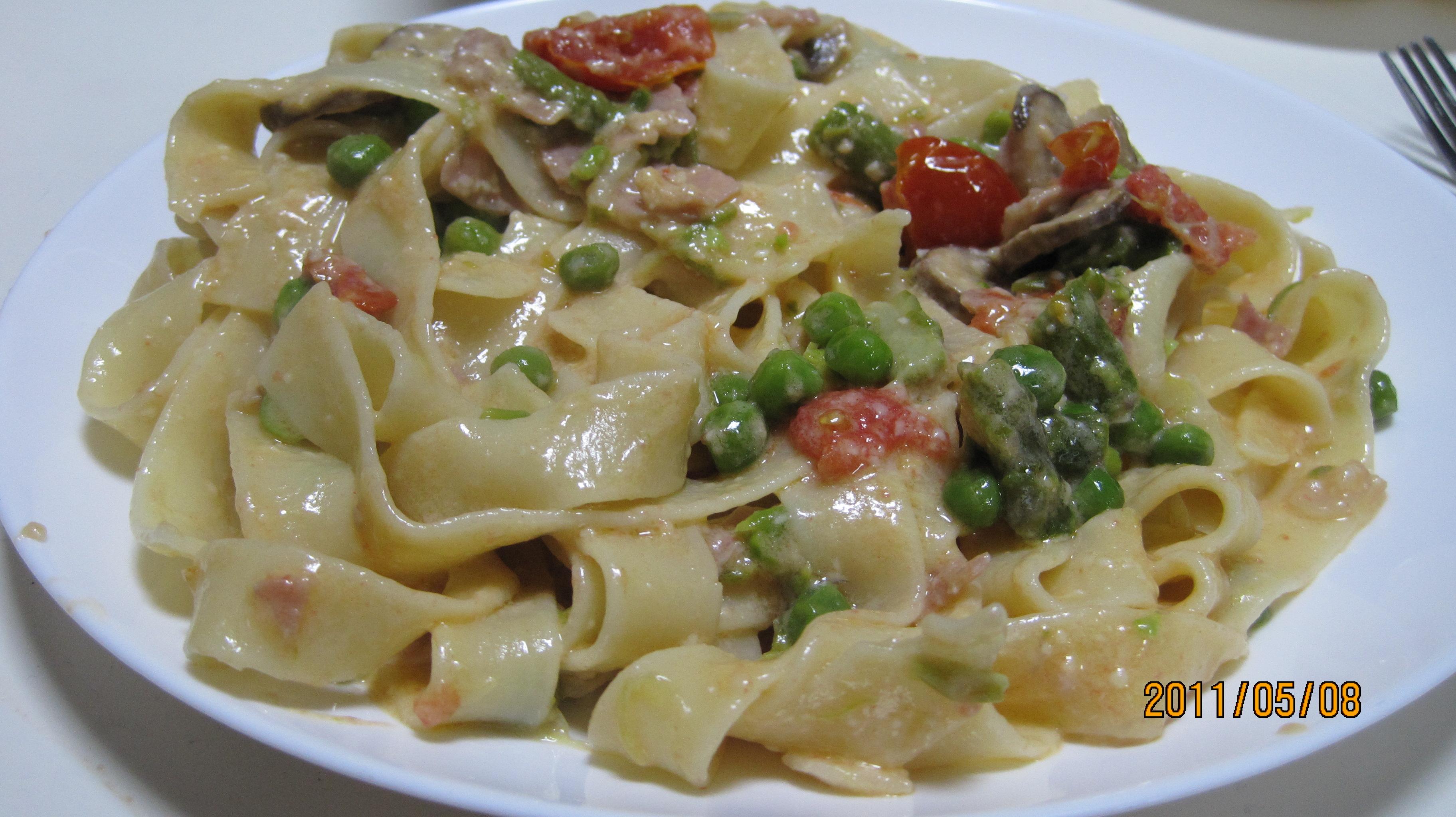 Fettuccini w/Garlic, Mushroom, and Prosciutto Cream Sauce