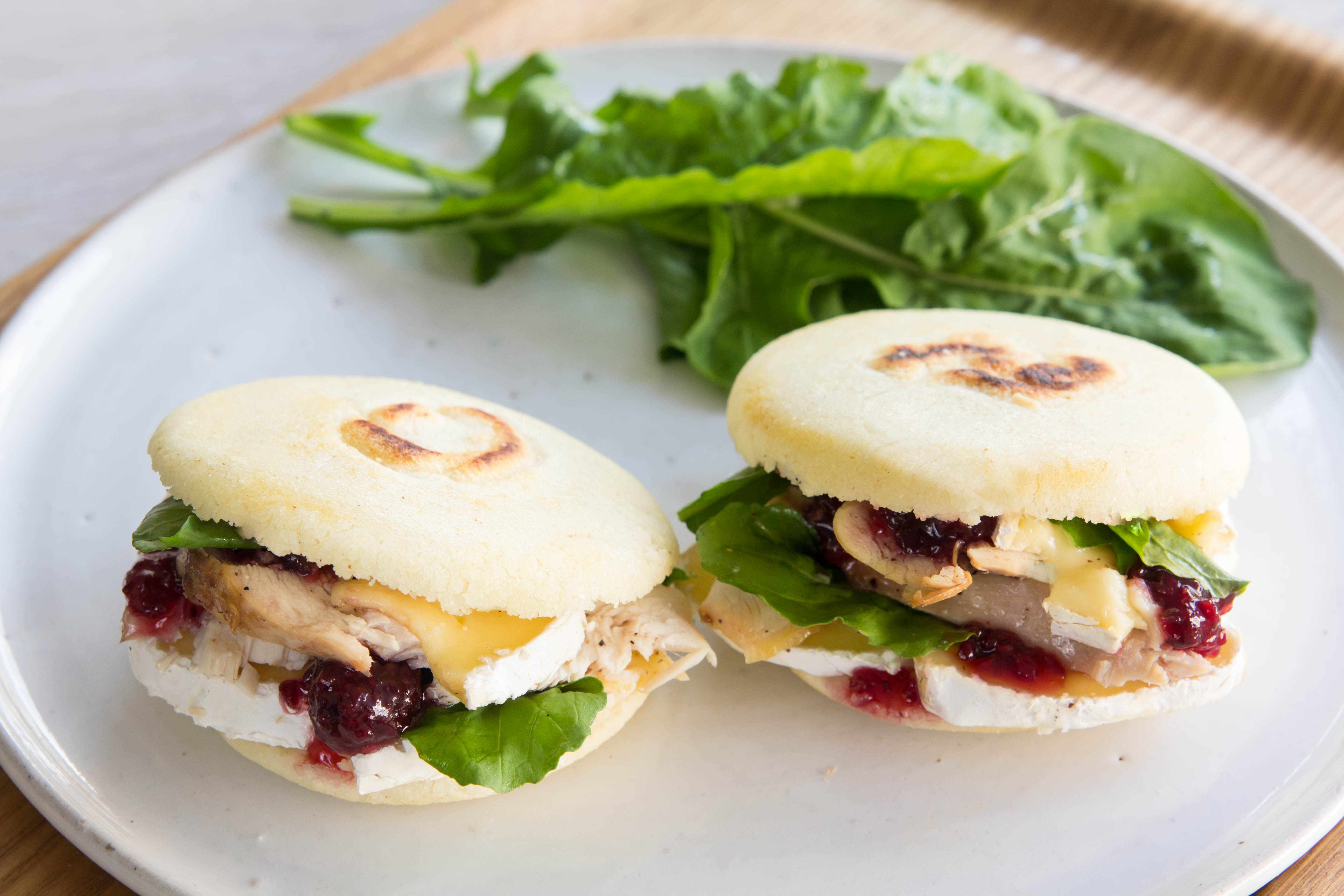 French-Style Arepas with Chicken & Strawberry Onion Jam