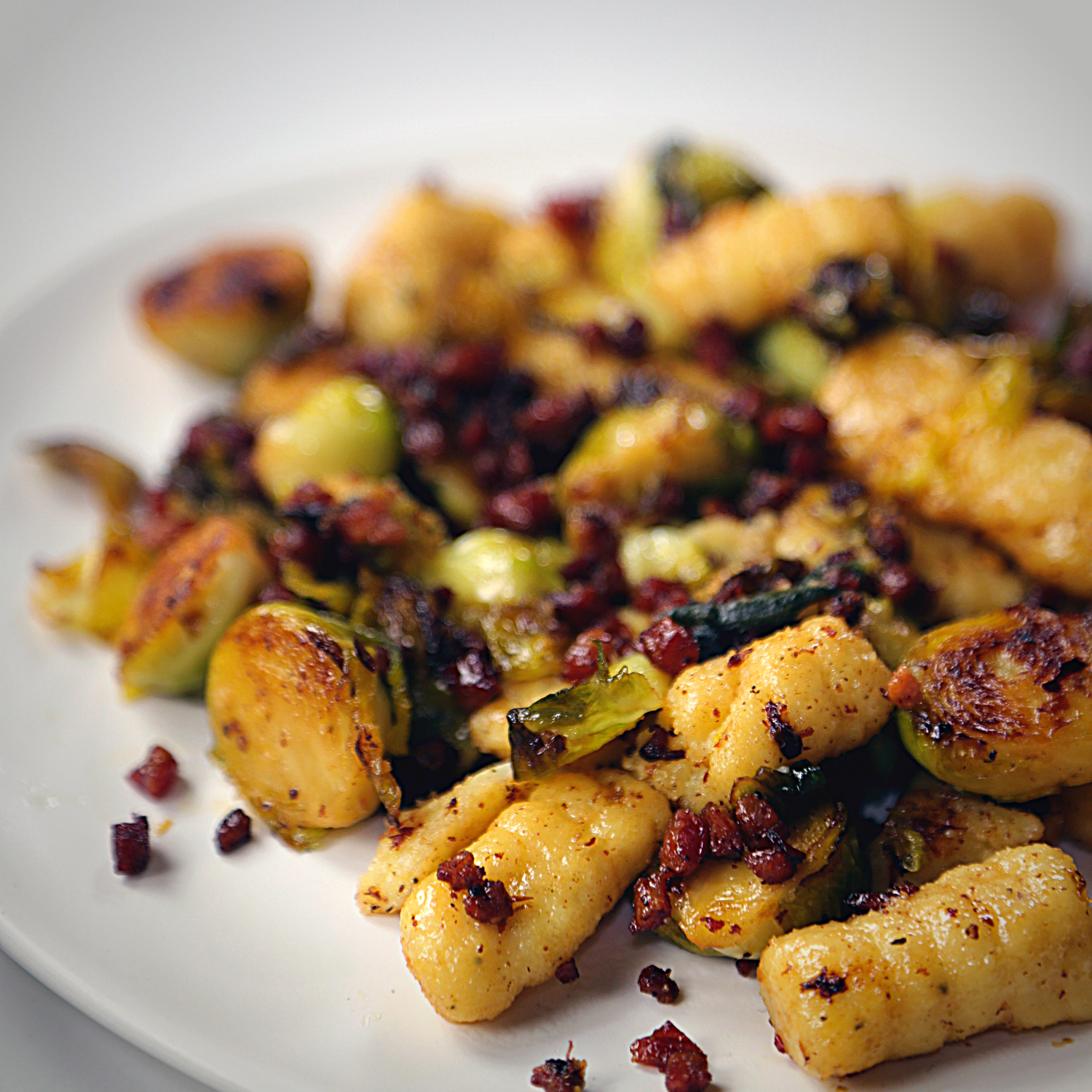 Gnocchi with Crispy Brussels and Pancetta