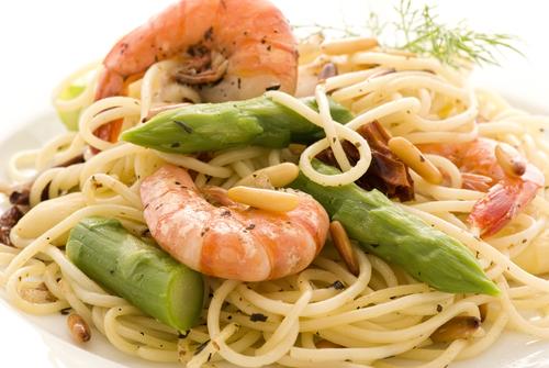 Lemon Shrimp with Asparagus and Angel Hair