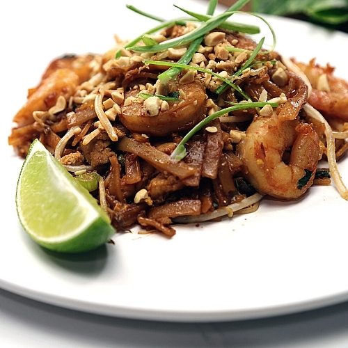 Pad Thai with Chicken, Shrimp, and Tofu