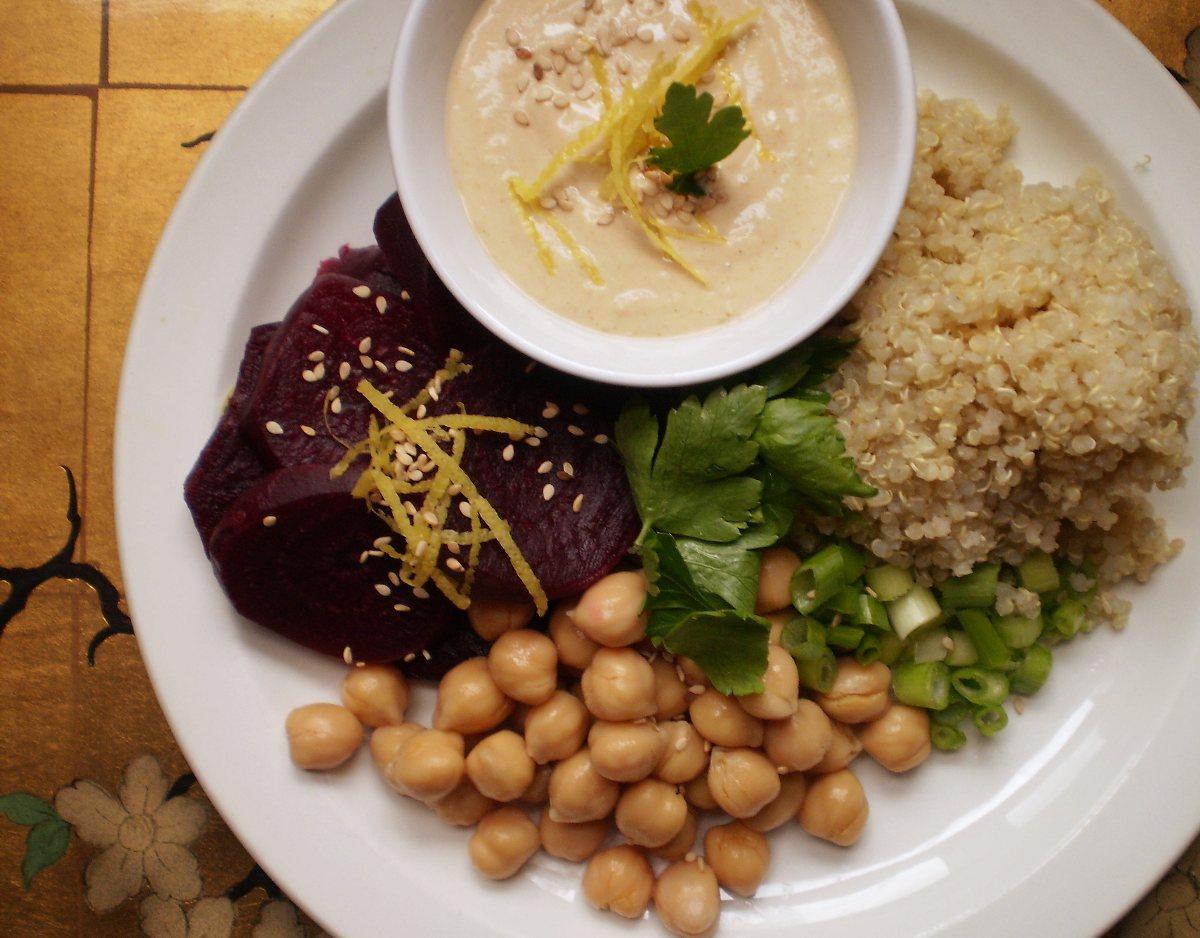Quinoa Beet Salad with Miso-Tahini Dressing..