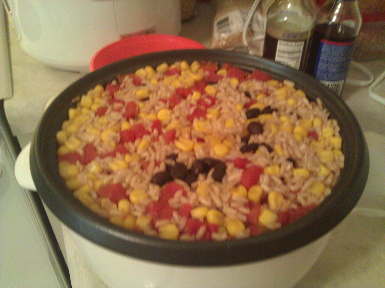 Rice cooker brown rice with black beans tomatoes and corn ccuart Images