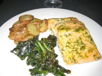 Salmon, Mustard Greens And Potatoes with Mustard-Dill GlazeBigOven