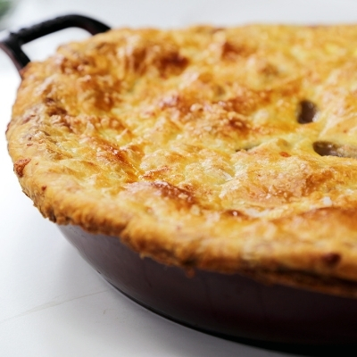 Skillet Beef-Stout Pot Pie with Irish Cheddar Crust
