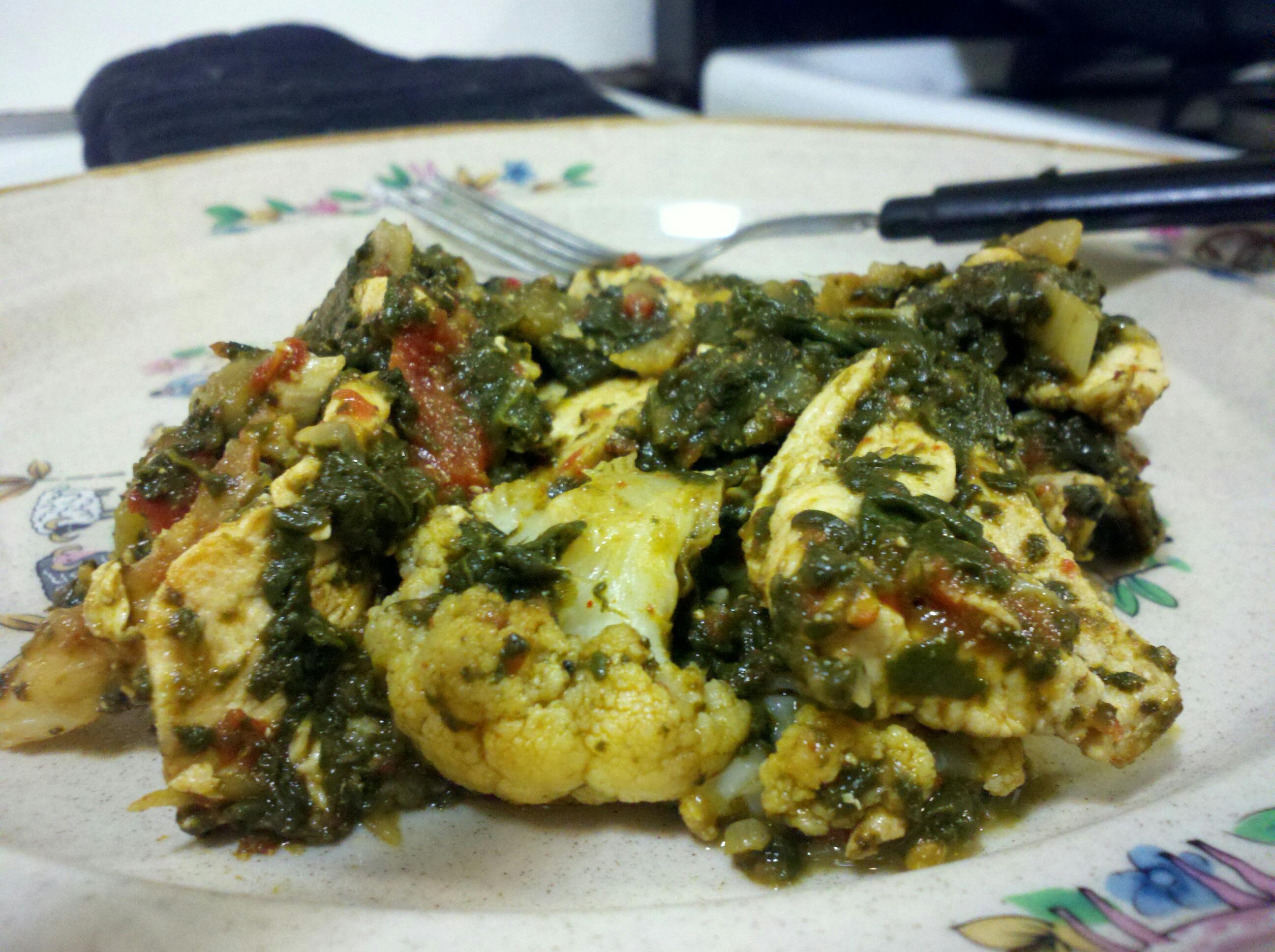 recipe: spinach and cauliflower bhaji [3]
