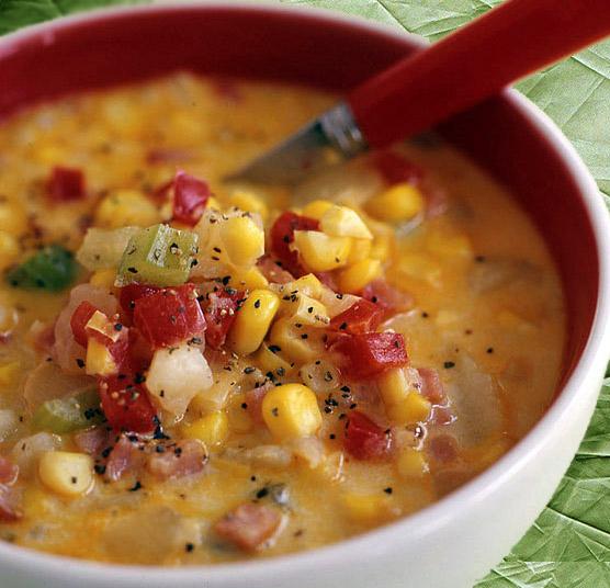 Decadent Corn, Potato and Bacon Chowder