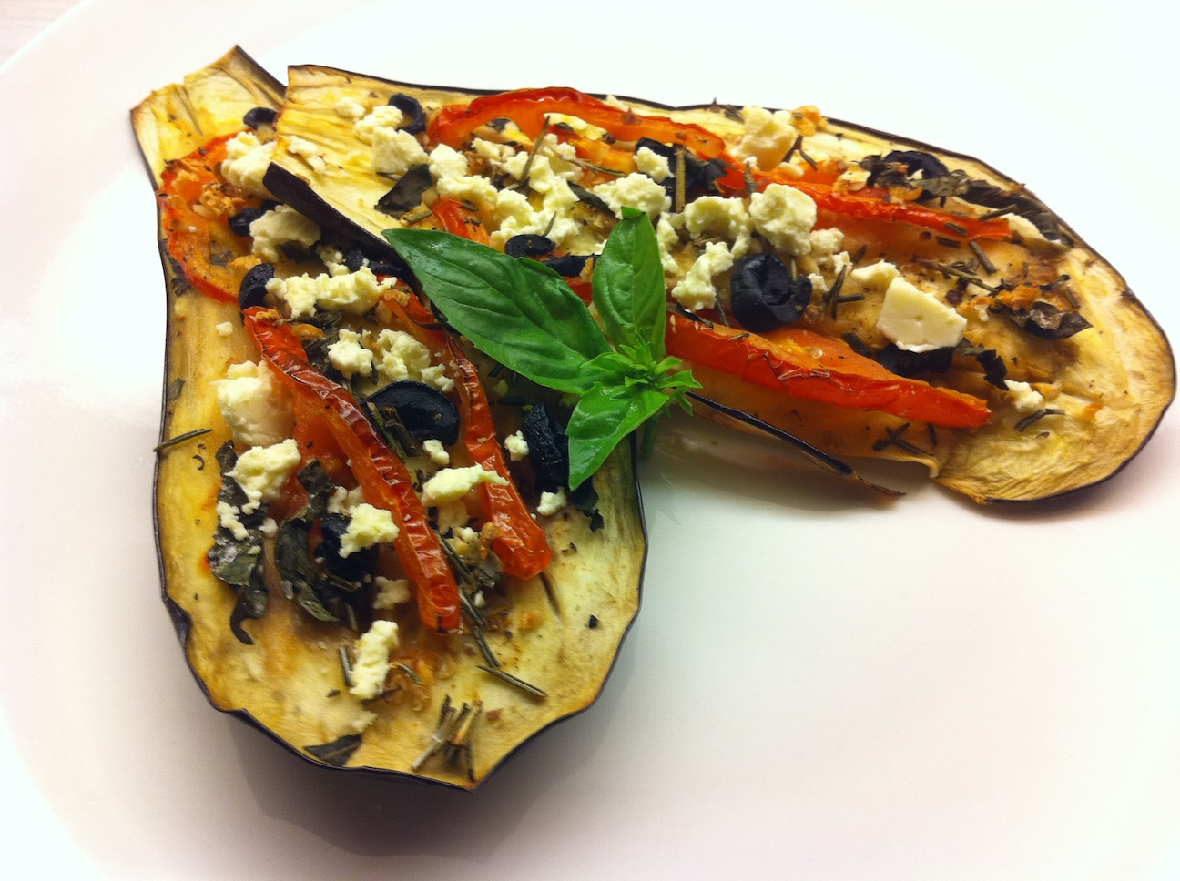 Tomato Stuffed Roasted Eggplant with FetaBigOven