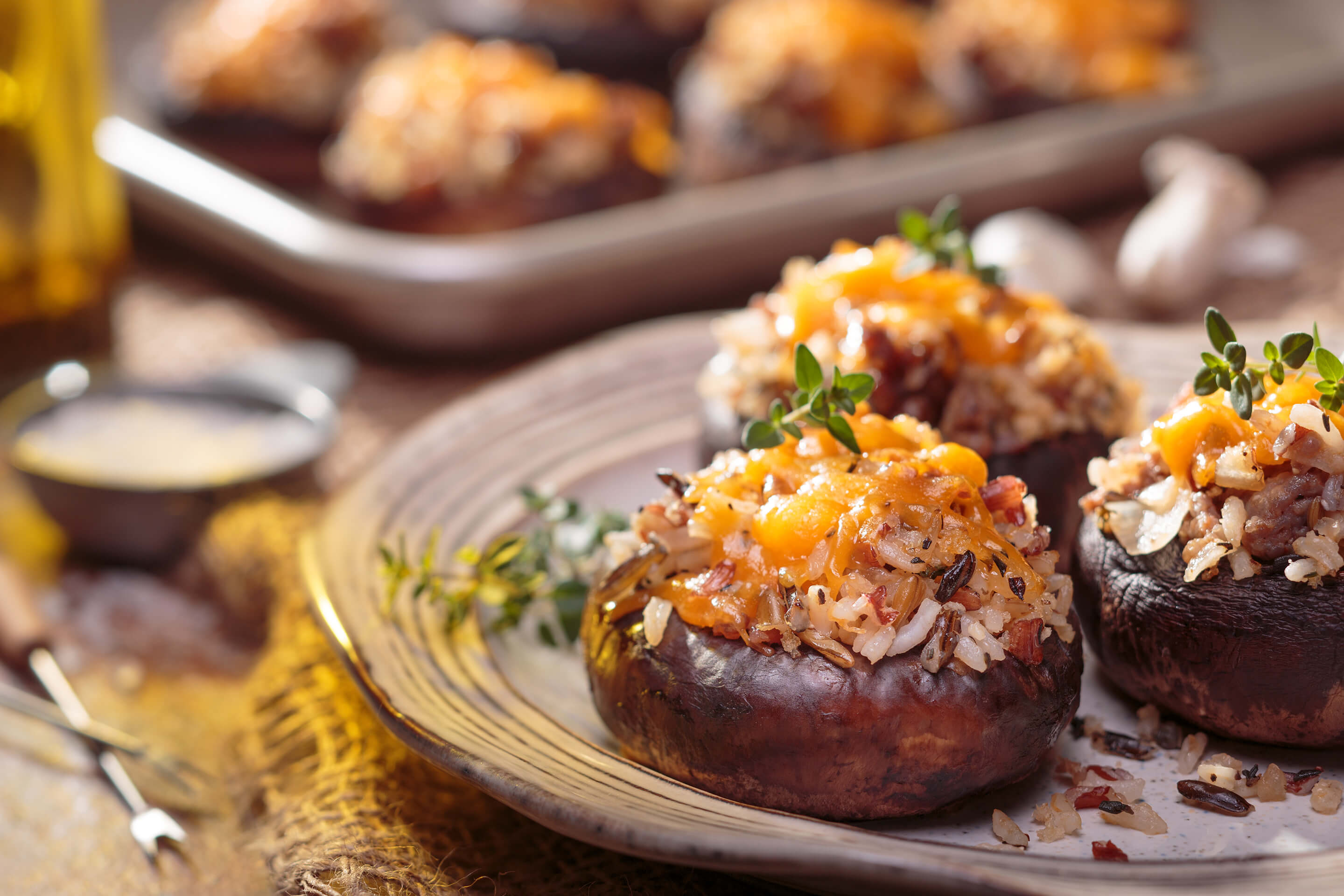 Wild Rice & Sausage-Stuffed Mushrooms