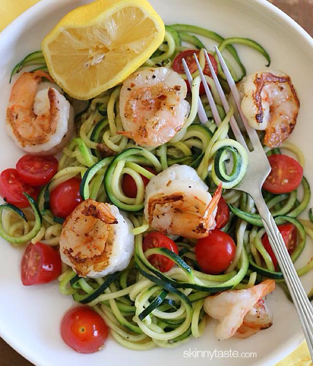 Zucchini Noodles with Lemon-Garlic Shrimp