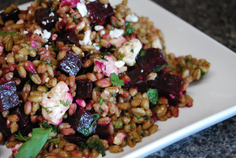 Farro Salad with Beets, Beet Greens and Feta - BigOven