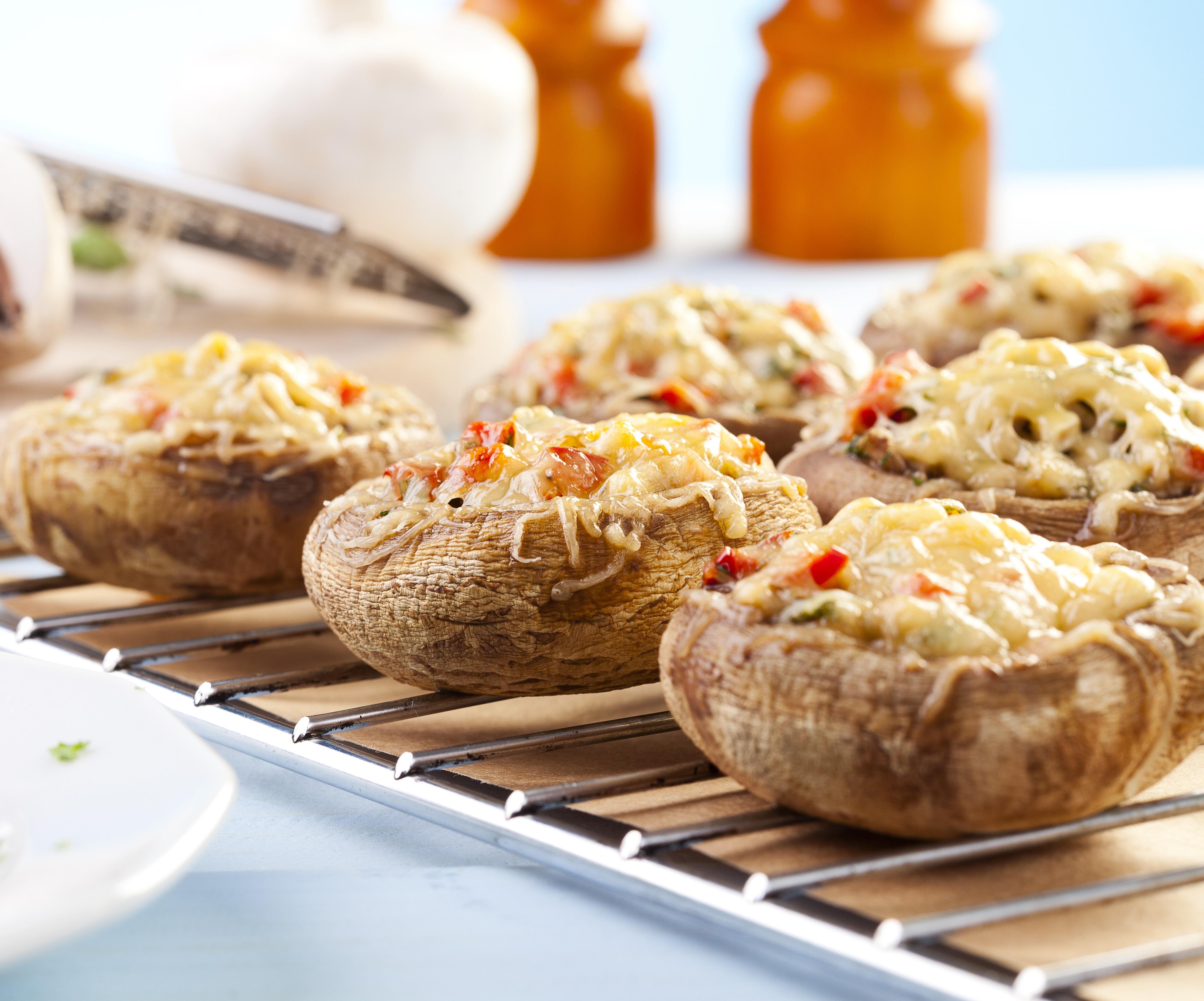 Goat Cheese Stuffed Mini Portobello Mushrooms