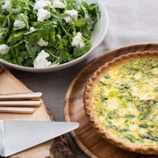 Asparagus and Leek Spring Quichewith Goat Cheese and Arugula Salad