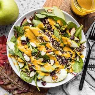 Autumn Quinoa Salad with Lemon Turmeric Dressing
