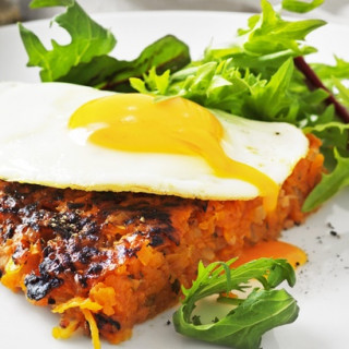 Bacon and sweet potato rosti with fried eggs