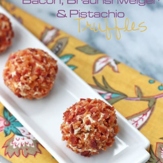 Bacon, Braunshweiger, and Pistachio Truffles