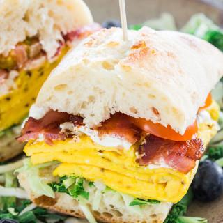 Bacon Omelette Goat Cheese Ciabatta Breakfast Sandwiches