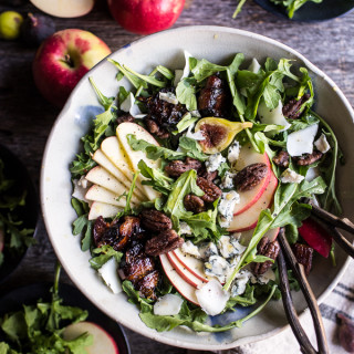 Bacon Wrapped Fig and Honeycrisp Apple Salad with Salted Caramel Pecans