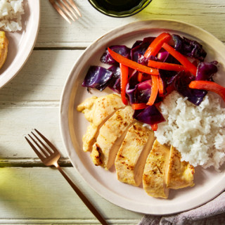 Baked Coconut Curry Chicken with Roasted Pepper & Cabbage
