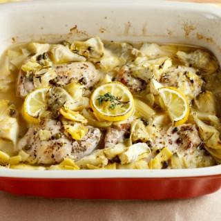 Baked Lemon Artichoke Chicken Piccata