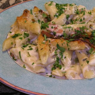 Baked Penne In A Saint Agur Mornay Sauce with Pencetta and Parmesan