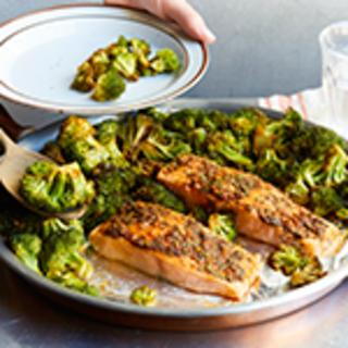 Baked Salmon With Charmoula Over Broccoli
