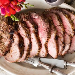Beer roast beef with garlic butter