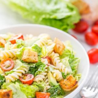 Caesar Salad with Pasta and Avocado