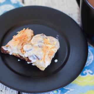 Caramel Coconut Chip Scone Bites