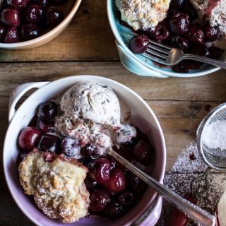 Cherry Cobbler with Honey Butter Vanilla Bean Biscuits