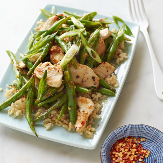 Chicken and String Bean Stir-Fry with Brown Rice