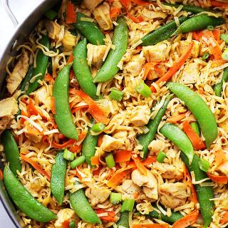 Chicken and Veggies Ramen Noodles Skillet Recipe