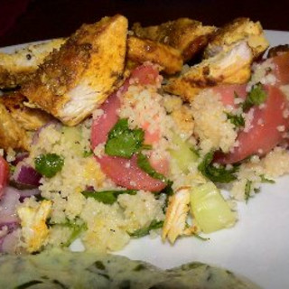 Chicken with Couscous Salad and Yoghurt Pesto