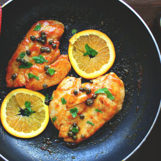 Chicken Piccata with Orange and Wheat Beer Glaze