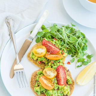 Chickpea Pancakes with Avocado, Tomato and Watercress {vegan}