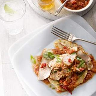 Chinese Seared Pork with Five-Spice Rhubarb Sauce