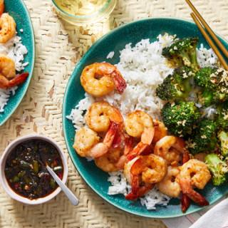 Chrissy Teigen's Garlic & Soy-Glazed Shrimp with Charred Broccoli  &amp