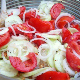 Cindy's Marinated Cucumbers, Onions and Tomatoes