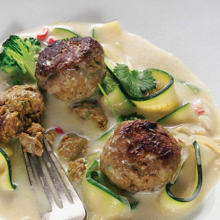 Coconut Zucchini Noodles and Spiced Meatballs