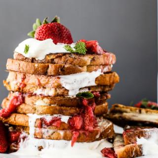 Cream Cheese Stuffed French Toast W/Strawberries and Whip Cream