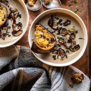 Cream of Mushroom Soup with Garlic Herb Breadcrumbs