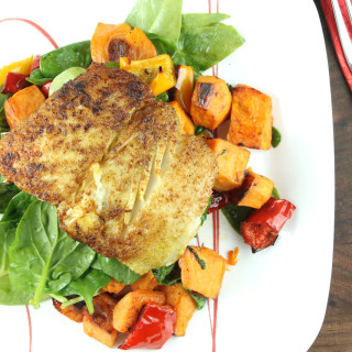 Cumin Scented Halibut with Balsamic Roasted Vegetables