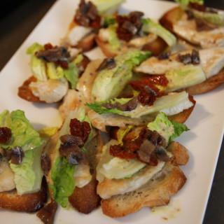 Caesar Salad Appetizers on Toast